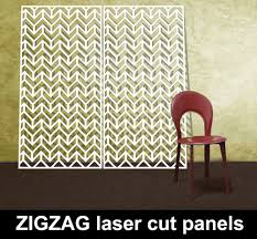 Zig Zag Room Divider Zigzag Pattern Laser Cut Metal Screens In White With Red Chair Jpg