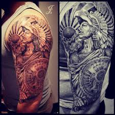 half sleeve realistic warrior aztec and princess tattoos