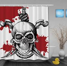 aliexpress com buy halooween pirates shower curtains skulls with aliexpress com buy halooween pirates shower curtains skulls with saber shower curtain home decor waterproof polyester fabric bathroom curtain from