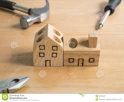 set of tools and handmade wood house stock photo image