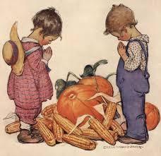 boy praying vintage thanksgiving illustration by