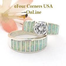 Opal Wedding Ring Sets by White Opal Inlay Wedding Ring Sets Navajo Ella Cowboy Four