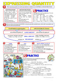 Countable And Uncountable Nouns List Quantifiers Countable Uncountable Nouns Worksheet Free Esl