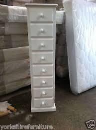 hand made white shabby chic 8 drawer narrow tall boy slim chest no