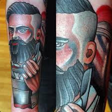 traditional male barber tattoos on forearm barber shop