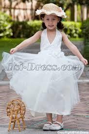 halter tea length casual flower dresses for beach wedding 1st
