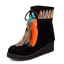 womens size 12 fringe boots indian style retro fringe boots flock chunky feather winter