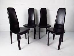 Armchair High Back Set Of Italian Leather High Back Dining Chairs By Cidue For Sale