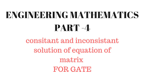 consistent and inconsistent solution of equations engineering