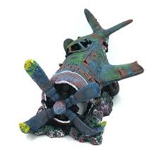 aquarium ornament fighter plane resin wreck airplane artificial