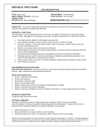 head teller resume resume examples for a bank teller position