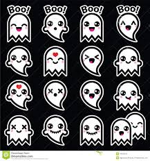 kawaii cute ghost for halloween icons set stock illustration