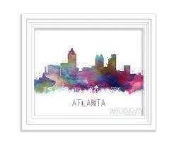 Home Decor Atlanta Atlanta Skyline Art Print Georgia Watercolor Painting Atlanta
