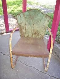 pair of vintage childrens metal yard chairs rocker rockers