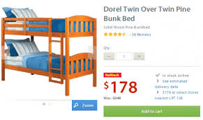 Walmart Canada Rollback Deal Dorel Twin Over Twin Pine Bunk Bed - Wood bunk beds canada