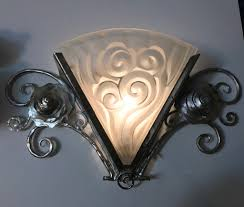 Deco Wall Sconces Pair Of French Art Deco Wall Sconces By Degue Modernism