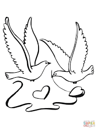 lovebirds with hearts coloring page free printable coloring pages