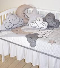 Cloud Crib Bedding Cloud Boy Quilt Pastel Moon Baby Blanket Gray White Beige