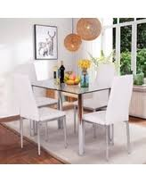 great deals on gymax 5 piece dining set glass top table u0026 4