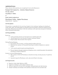 Resume For A Warehouse Job Resume Warehouse Resume Examples