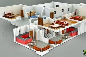 3d interior home design interior plan houses 3d section plan 3d interior design 3d
