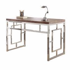 Chrome Office Desk Geometric 47 Chrome Office Desk With 3d Laminate Wood Top