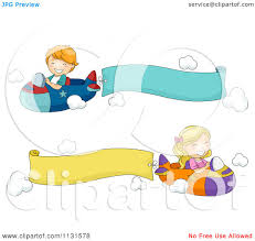 cartoon of children flying planes with banners royalty free