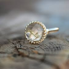 quartz engagement ring golden rutilated quartz engagement ring crown princess