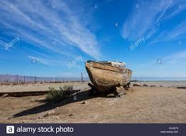 desert landscape abandoned boat at bombay beach at the salton sea