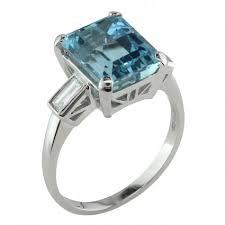 aquamarine and diamond ring deco aquamarine ring with baguette diamonds in platinum