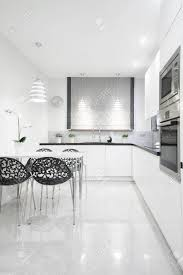 Black And White Kitchen Interior by Picture Of Gleaming Kitchen Interior In Contemporary Design Stock