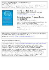 restorative justice pedagogy praxis and discipline pdf