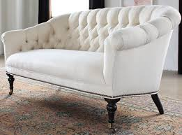 Velvet Tufted Loveseat Tufted Loveseat In Linato Cream With Brass Nailhead Trim 2