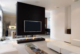 beautiful simple wall mounted tv idea for room divider in open