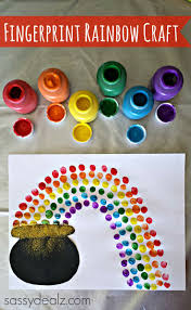 fingerprint rainbow pot of gold craft for st patrick u0027s day