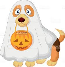 cartoon dog dressed up as a spooky ghost stock vector art
