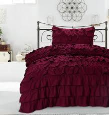 Ruffled Bed Set Vintage Bedding Set Modern Ruffle Waterfall Duvet Cover