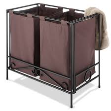 Laundry Room Storage Cart by Bathroom Dark Fabric Double Laundry Hamper With Black Wrought