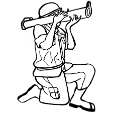 army soldier military with mortar colouring page to print for boy