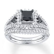 black diamond wedding sets black diamond bridal set 1 7 8 cttw princess cut 10k white gold