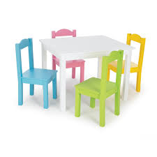 rounded children table with white laminate top surface and square