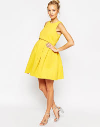asos debutante scuba skater dress with double layer in yellow lyst