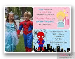 cinderella and spiderman birthday invitation printable with photo