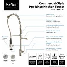 kraus commercial pre rinse chrome kitchen faucet kraus kpf 1602ss premium kitchen faucet stainless steel pro pre