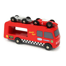 racing car transporter wooden toy truck u2013 crowdyhouse
