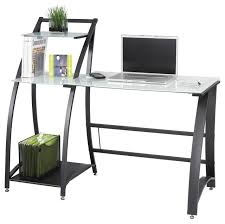 Glass Desk With Storage Xpressions Computer Workstation W Tempered Glass Laptop Desk