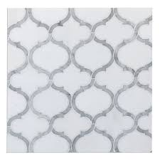 white thassos u0026 carrara marble arabesque marrakech waterjet mosaic