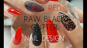 acrylic nails with raw glitter u0026 lace stamping nail design youtube