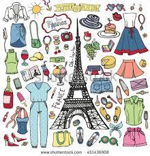 fashion illustrationsummer wardrobeparis france eiffel towervector