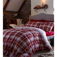 Brushed Cotton Duvet Cover Double Catherine Lansfield Home Tartan 100 Brushed Cotton Flannelette